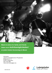 "Plakat zur Konzertreihe ""music and culture for families & friends"""